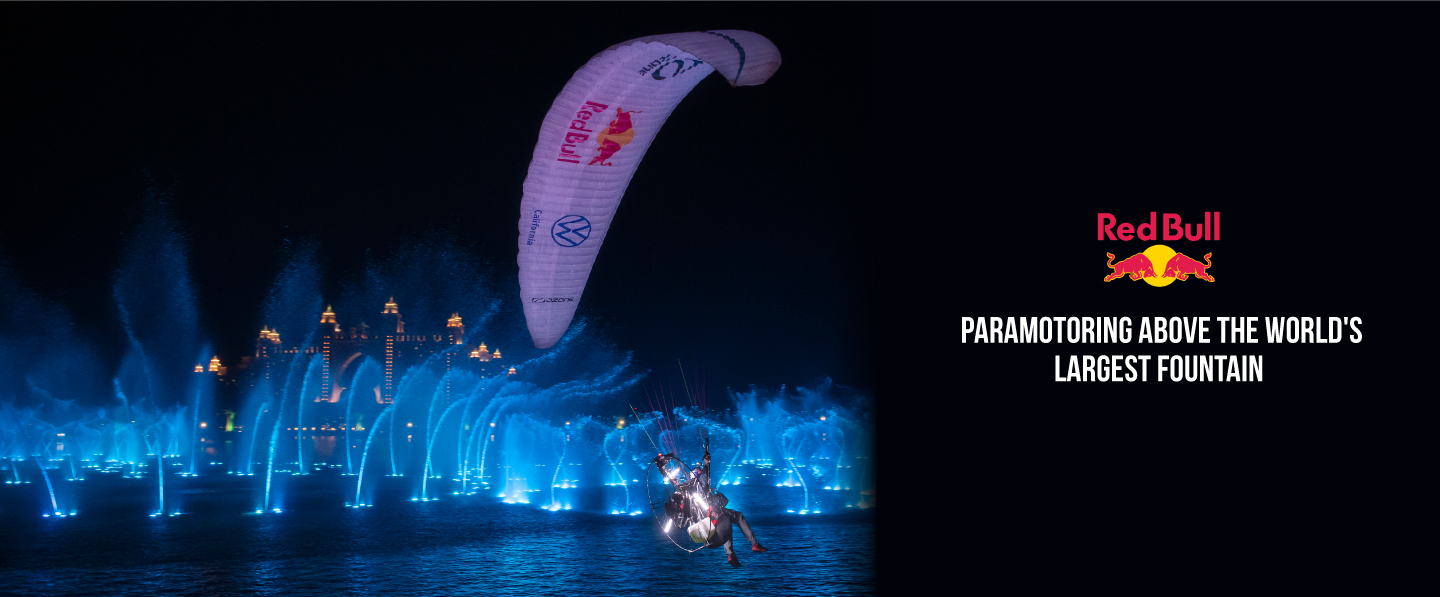 RedBull-Watch as Horacio Llorens and Rafael Goberna defy gravity, and aim for the sky over the world's  largest fountain